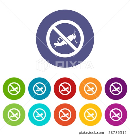 No locust sign set icons 28786513