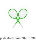 Crossed tennis rackets in retro design  28788798
