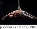 circus artist on the aerial straps man 28793965