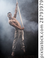 circus artist on the aerial straps man 28793979