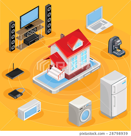 Vector isometric abstract illustration smart home 28798939