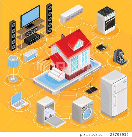 Vector isometric abstract illustration smart home 28798953