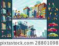 Set vector cartoon illustration of an urban large 28801098