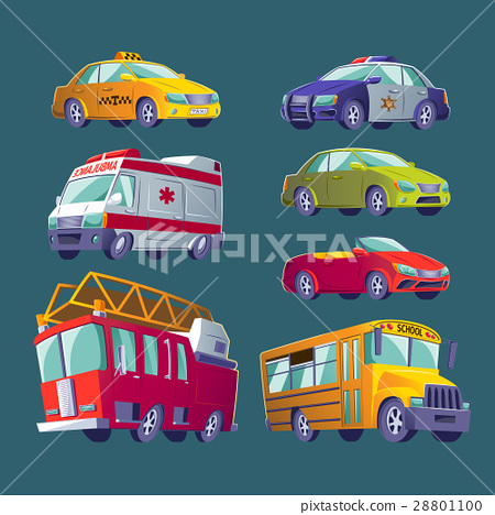Cartoon set of isolated icons of urban transport 28801100