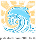 Dolphin illustration jumping in water waves 28801634