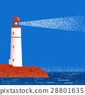 Lighthouse night seascape horizon. Vector 28801635