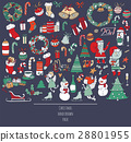 Christmas set of hand drawn doodles 28801955