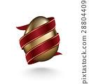 Golden egg diagonal wrapped red ribbon on white 28804409