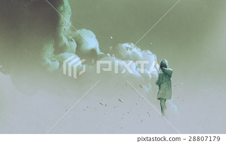 alone woman standing in front of smoke 28807179