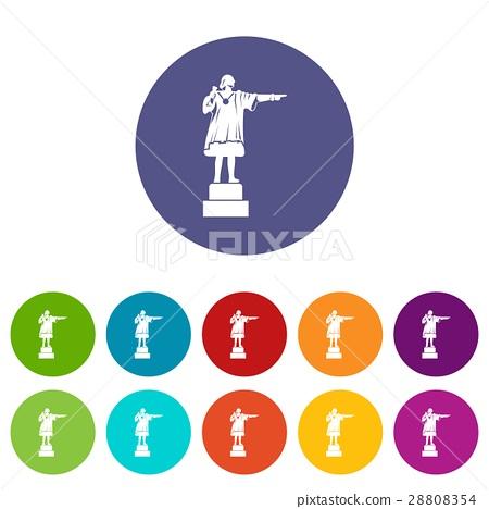 Columbus monument set icons 28808354