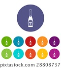 Bottle of champagne set icons 28808737