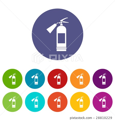 Fire extinguisher set icons 28810229