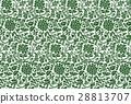 連続草花模様大-緑-B 28813707