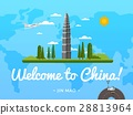 Welcome to China poster with famous attraction 28813964