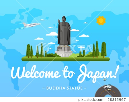 Welcome to Japan poster with famous attraction 28813967