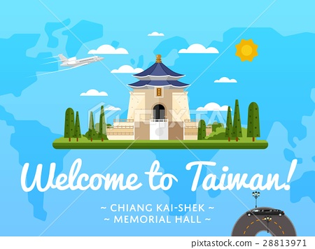 Welcome to Taiwan poster with famous attraction 28813971