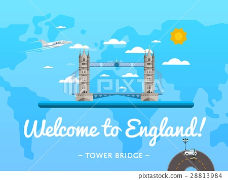 Welcome to England poster with famous attraction 28813984