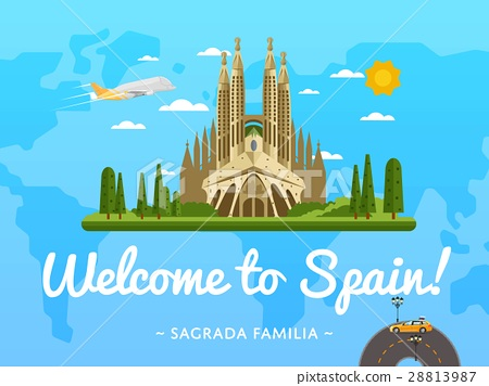 Welcome to Spain poster with famous attraction 28813987