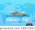 Welcome to Italy poster with famous attraction 28813992