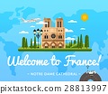 Welcome to France poster with famous attraction 28813997