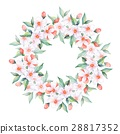 White flowers. Watercolor floral wreath 28817352