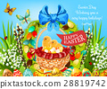 Easter basket with eggs and chickens greeting card 28819742