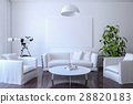 White canvas on the wall in the living room 28820183