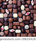 Assortment of fine chocolate candies. Top view 28820428
