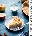 Apple pie on a blue background. Copy space 28820431
