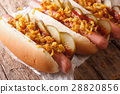 Danish fast food hot dogs with crispy onions 28820856