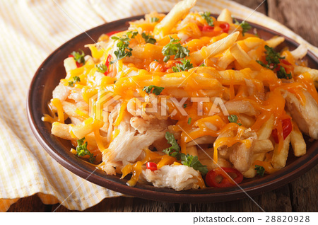 french fries with cheddar cheese and chicken 28820928