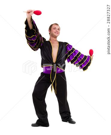 one caucasian man samba dancer dancing isolated on 28827327