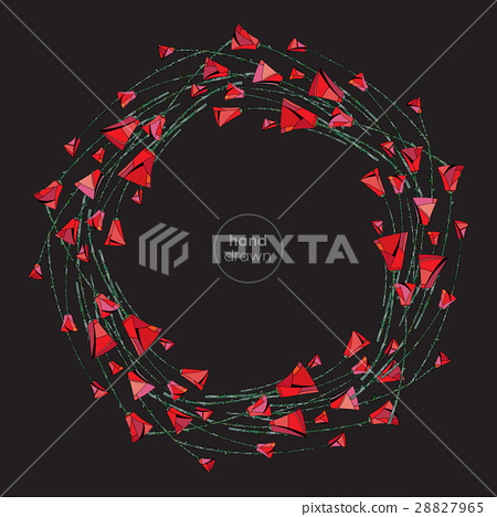 Abstract stylized roses frame. Vector flowers 28827965