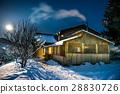 night, house, snow 28830726