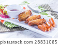 chicken wings and sausage 28831085