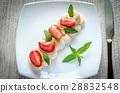 Meringue cake with cream and fresh strawberries 28832548