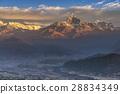 Himalayas range on sunrise from Sarangkot Nepal 28834349