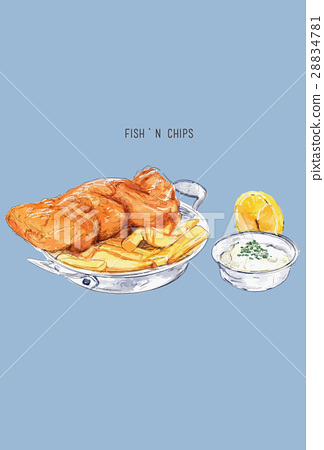 Fish and chips sketch .British cuisine. 28834781