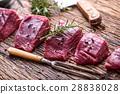 Beef.Raw beef tenderloin steak on a cutting board. 28838028