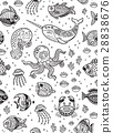 Aquatic animals seamless pattern for children 28838676