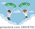 Business People Using Banknote as a Parachute 28838782