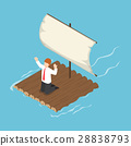 Isometric businessman stranded on wooden raft 28838793