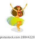 Illustration of a Hawaiian hula dancer woman 28844220