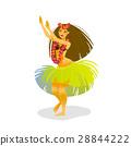 Illustration of a Hawaiian hula dancer woman 28844222
