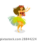 Illustration of a Hawaiian hula dancer woman 28844224