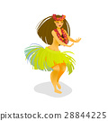 Illustration of a Hawaiian hula dancer woman 28844225