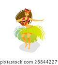 Illustration of a Hawaiian hula dancer woman 28844227
