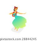 Illustration of a Hawaiian hula dancer woman 28844245