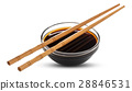 Soy sauce and chopsticks isolated on white 28846531