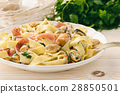 Pasta (pappardelle) with mussels, ham and cheese  28850501